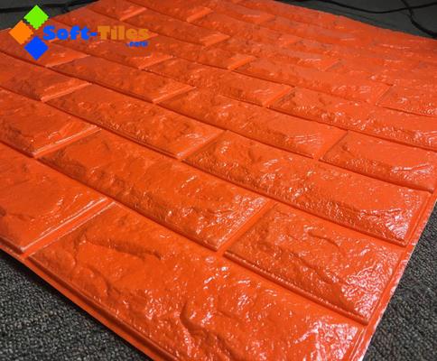 China Orange Red 3D PE Foam Wall Sticker Panels Wallpaper Decor supplier