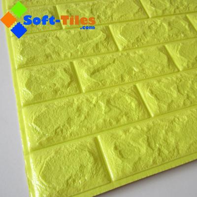 3D Brick Thicken Soft PE Foam Wall Sticker Panels Wallpaper Decor BRIGHT yellow colour